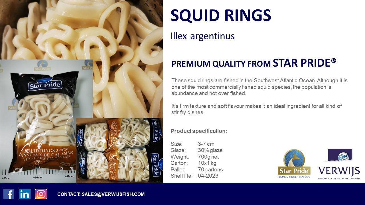 Star Pride Premium Frozen Squid Rings